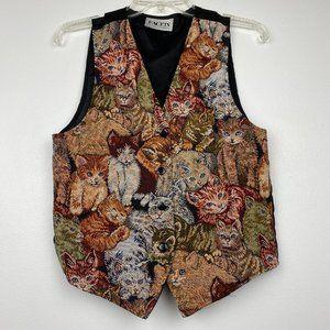 Vintage Tapestry Embroidered Cat Vest